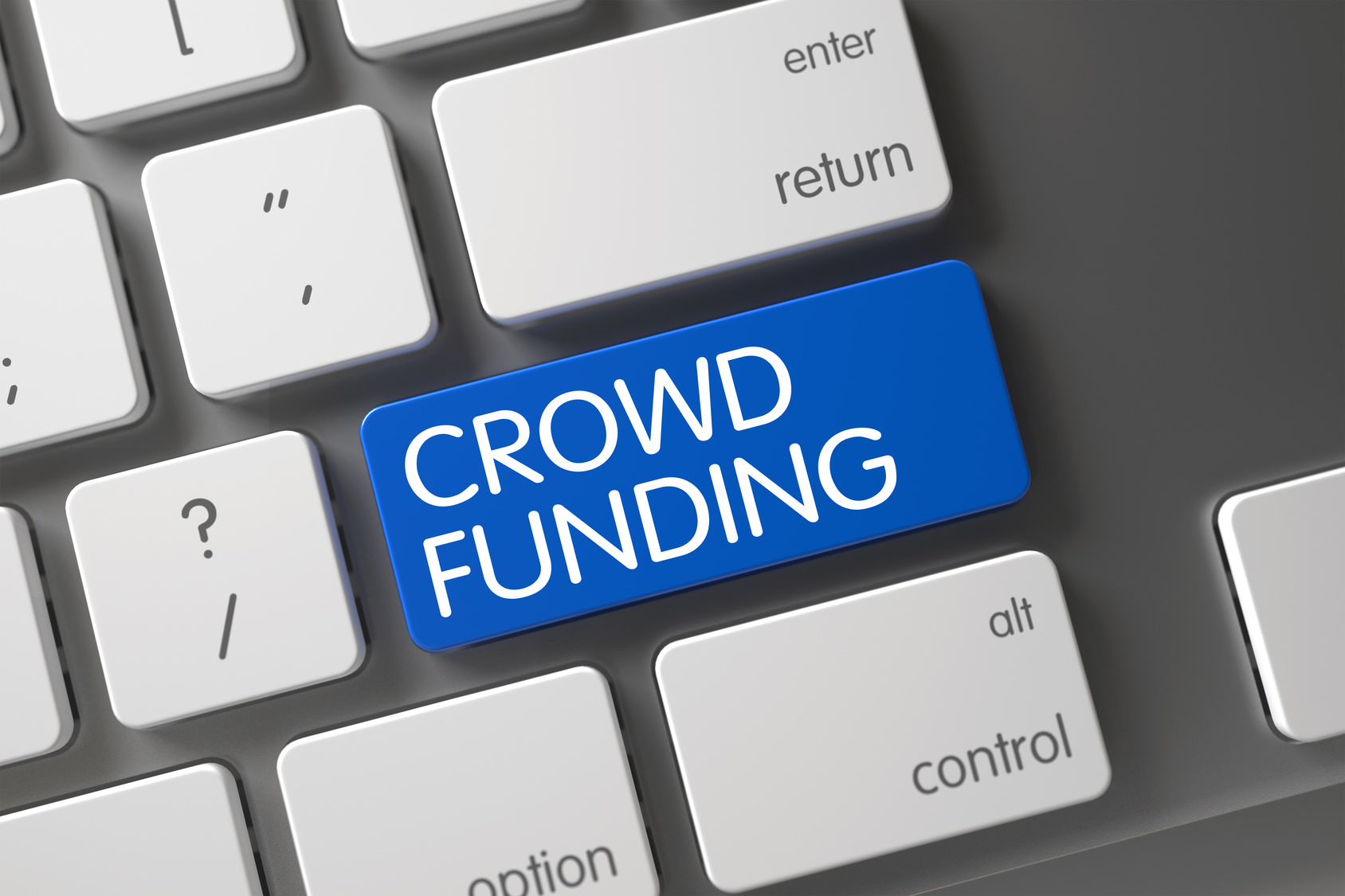 Crowd Funding Button. Crowd Funding Key on Aluminum Keyboard. Crowd Funding Concept Computer Keyboard with Crowd Funding on Blue Enter Key Background, Selected Focus. 3D Render.